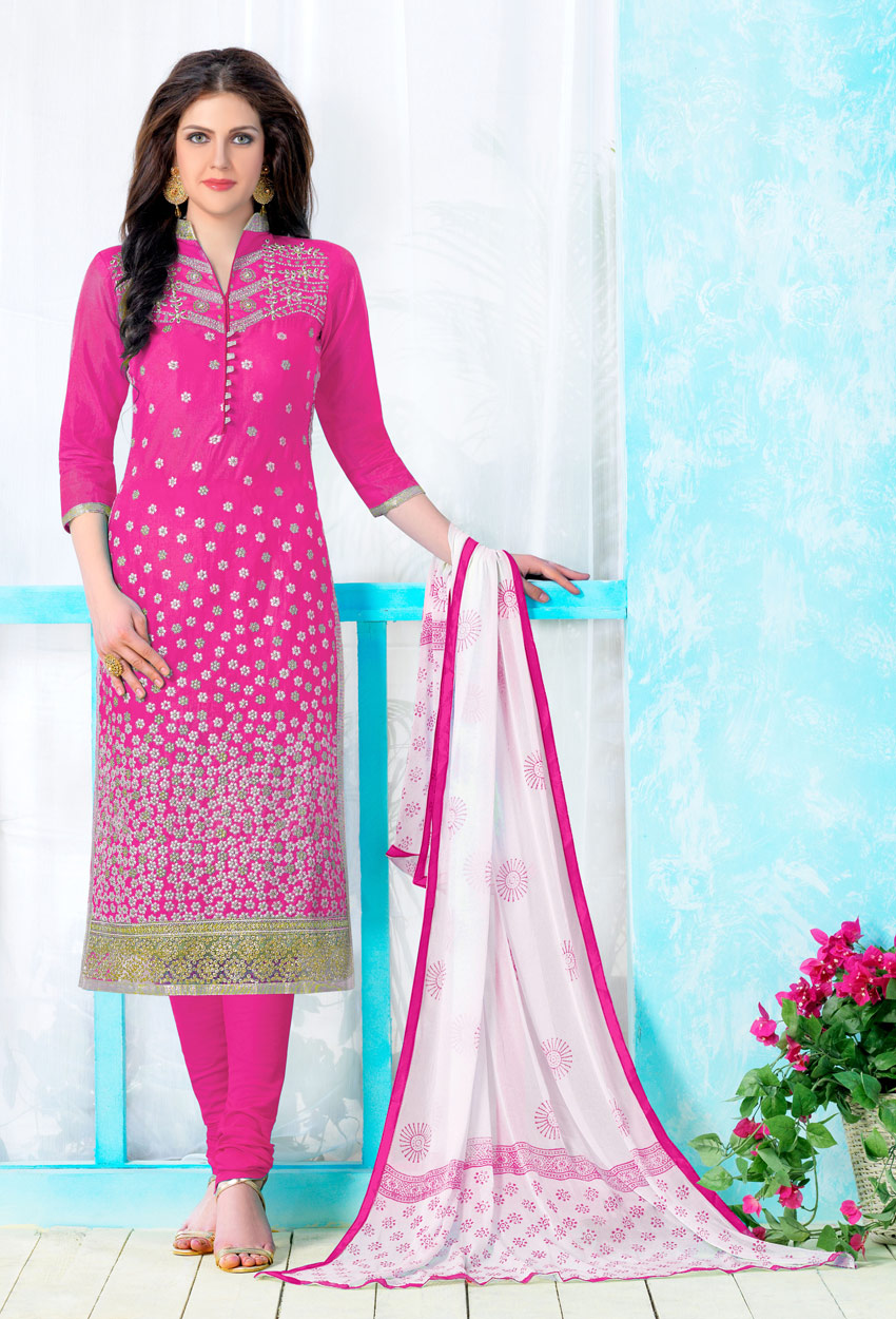 Pink Cotton Cambric Straight Cut Suit