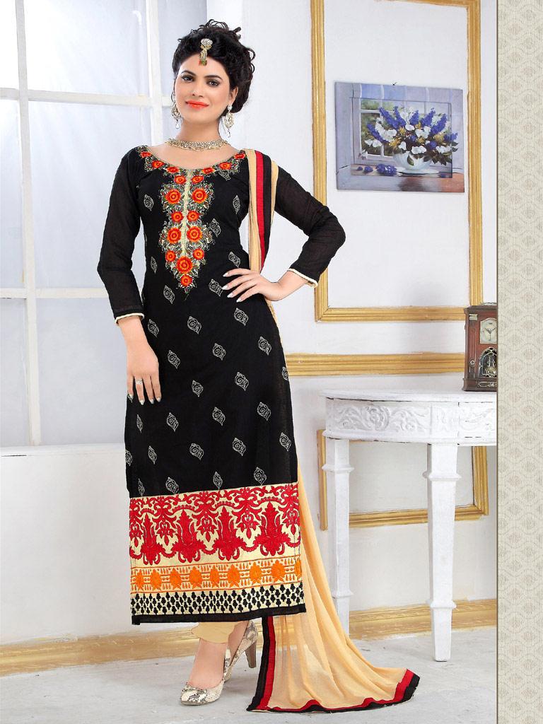 Black Chanderi Cotton Straight Cut Suit