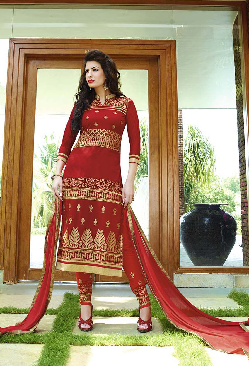 Red Pure Cotton Straight Cut Suit