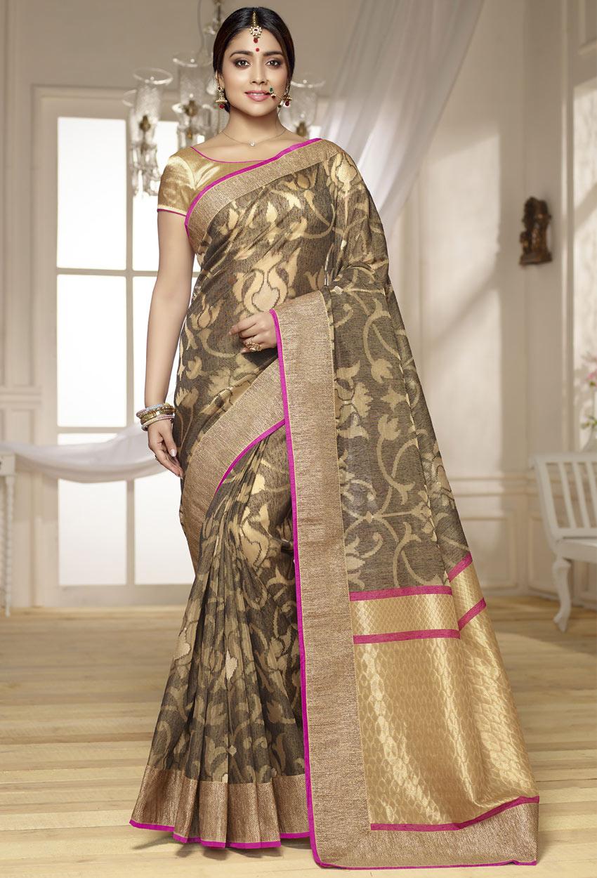 Gray And Beige Banarasi Silk Designer Konrad Sari